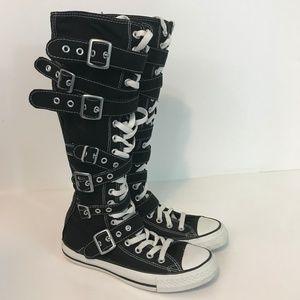 Converse All Star Knee High Boot Buckle Zip Heel 7